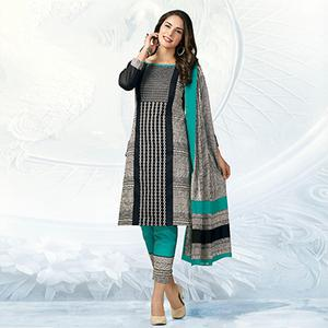 Black - Blue Casual Wear Printed Cotton Dress Material