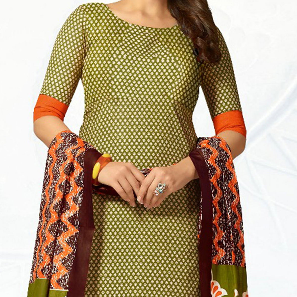 Green - Orange Casual Wear Printed Jetpur Cotton Dress Material