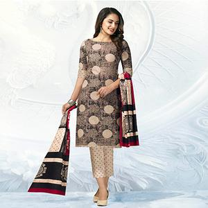 Beige Casual Wear Printed Jetpur Cotton Dress Material