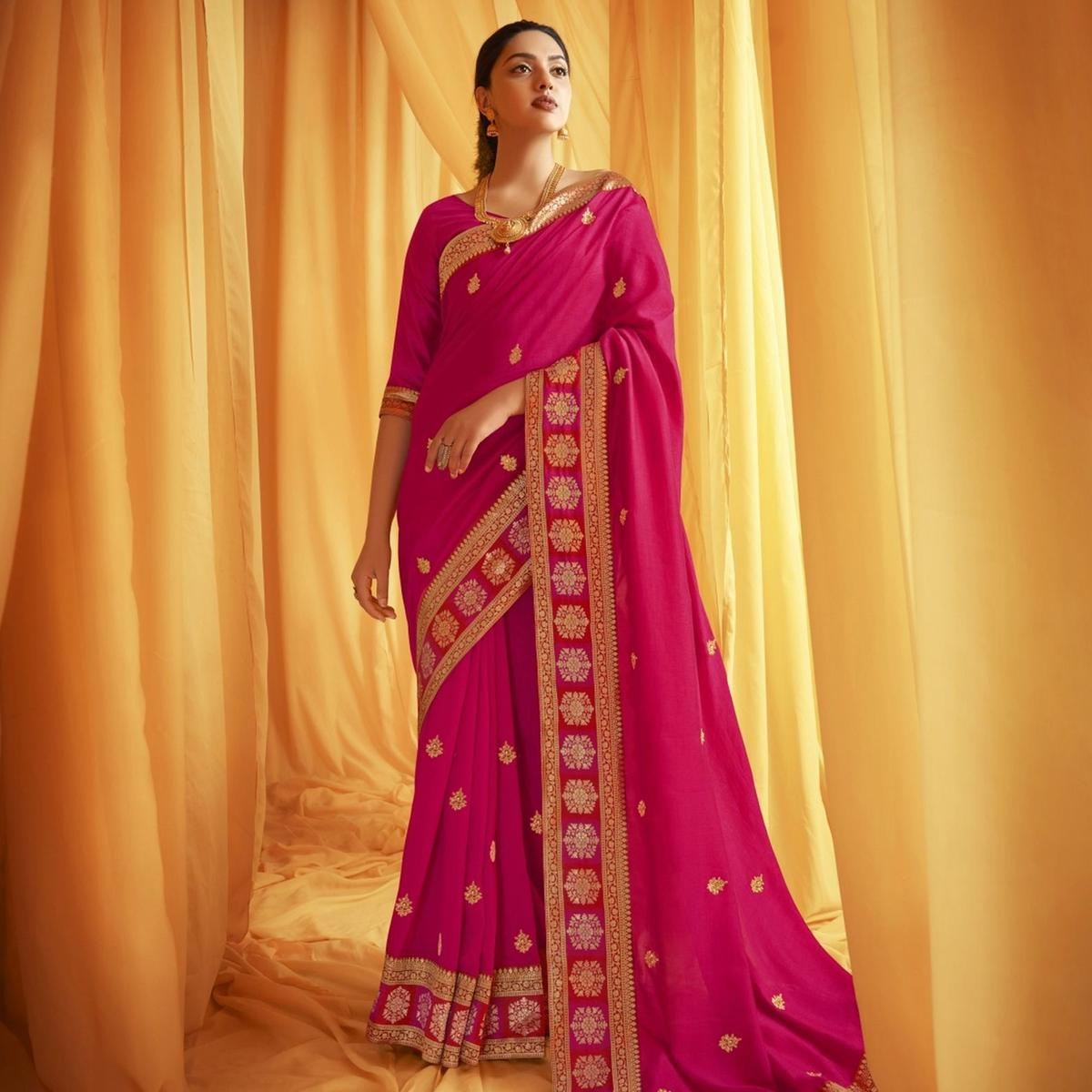 Triveni Pink Colored Chanderi Silk Embroidered Saree With Blouse Piece