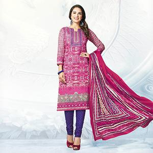 Pink - Blue Casual Wear Printed Jetpur Cotton Dress Material