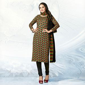 Multicolored Casual Wear Printed Jetpur Cotton Dress Material