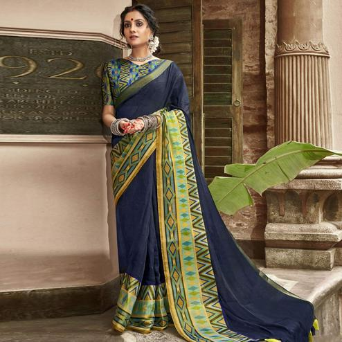Triveni Navy Blue Colored Cotton Silk Solid Saree With Blouse Piece