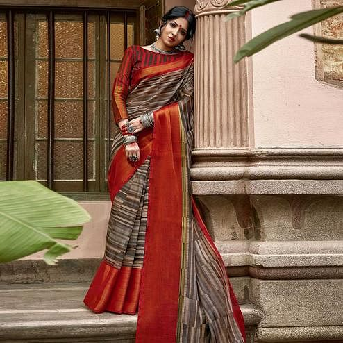 Triveni Grey & Red Colored Cotton Silk Printed Saree With Blouse Piece