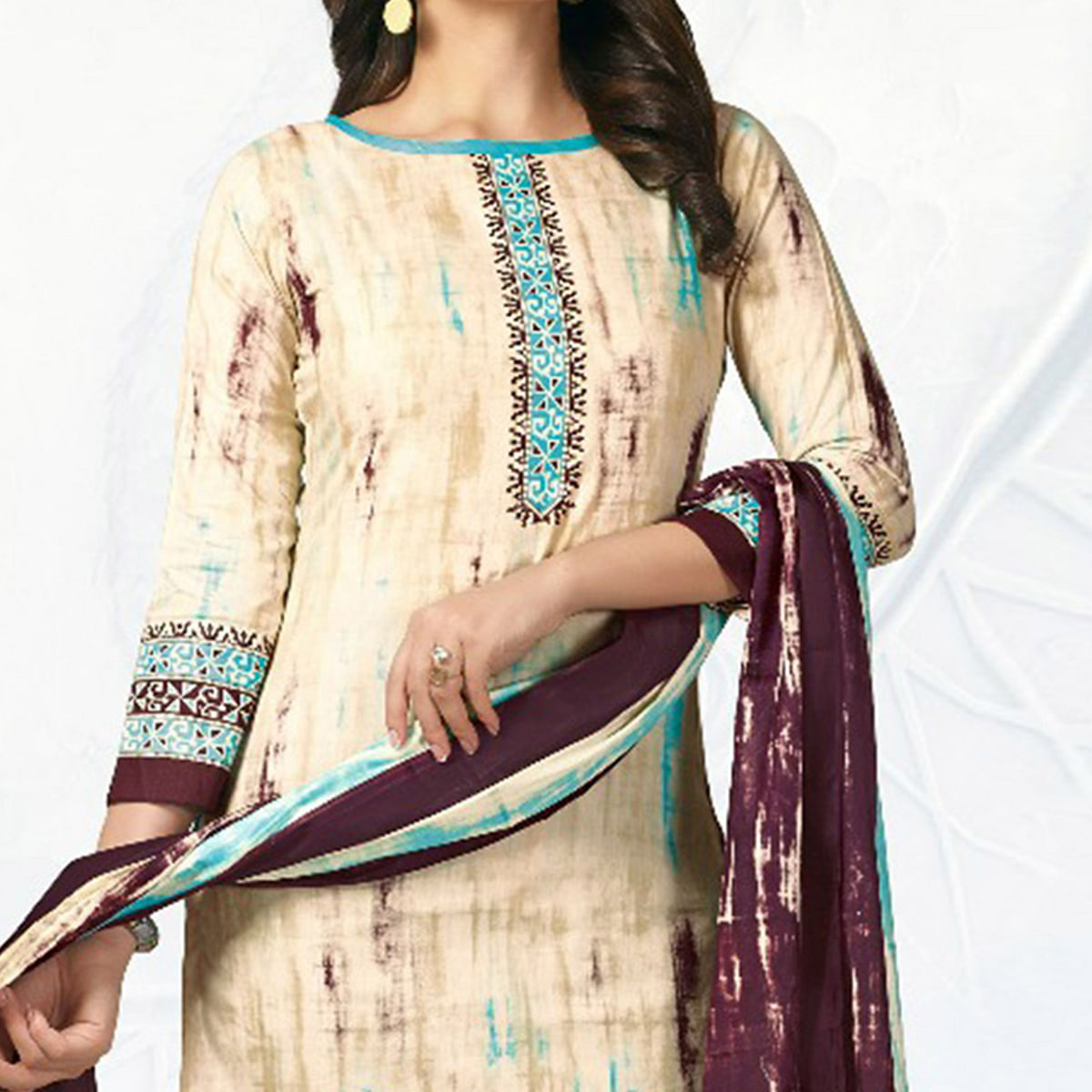 Beige - Sky Blue Casual Wear Printed Jetpur Cotton Dress Material