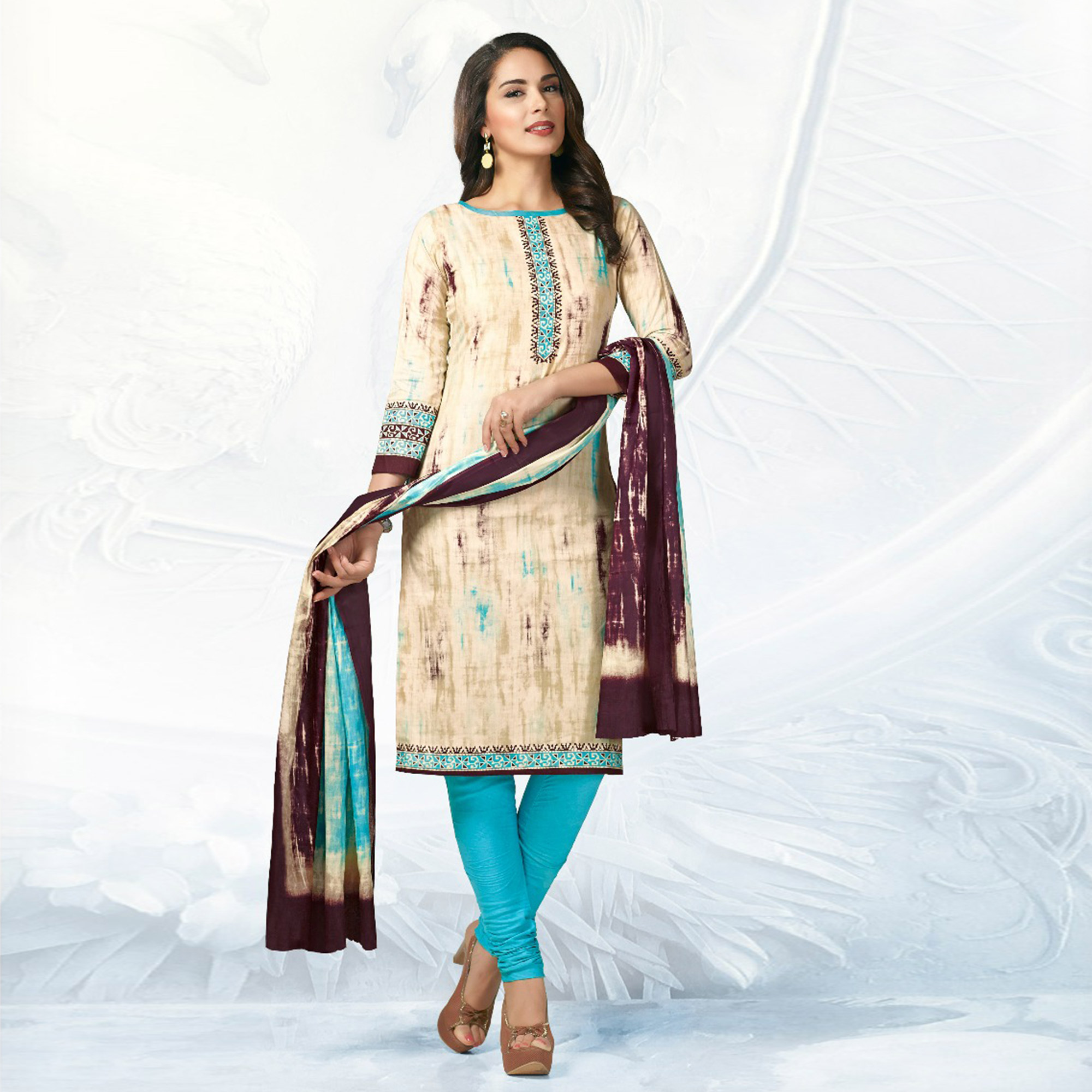 Beige - Sky Blue Casual Wear Printed Cotton Dress Material