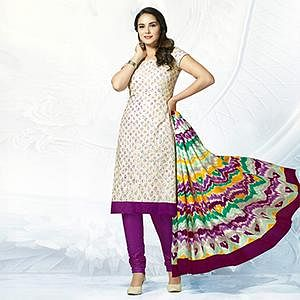 Off White - Purple Casual Wear Printed Jetpur Cotton Dress Material