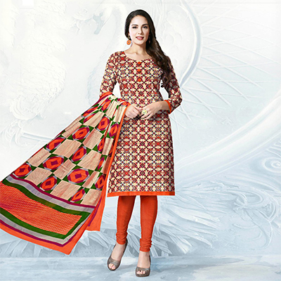 Beige - Orange Casual Wear Printed Cotton Dress Material