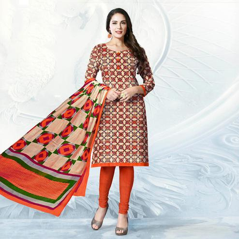 Beige - Orange Casual Wear Printed Jetpur Cotton Dress Material