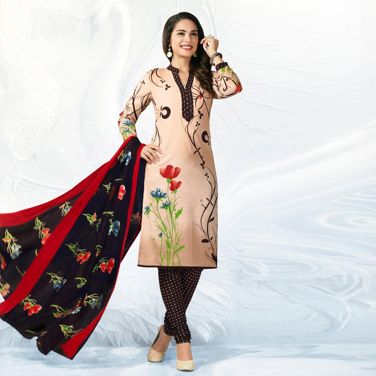 Beige - Black Casual Wear Printed Jetpur Cotton Dress Material
