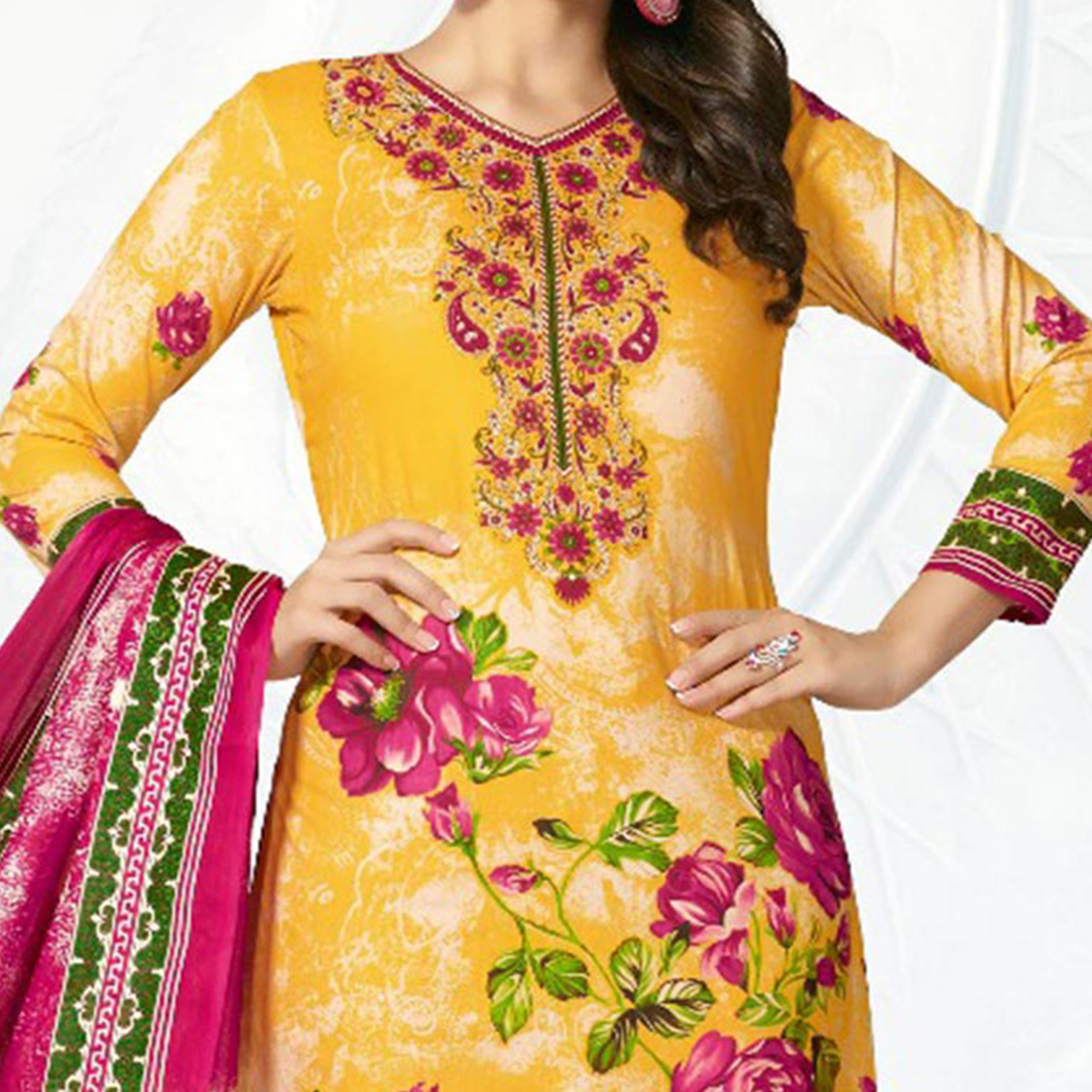 Yellow - Pink Casual Wear Printed Jetpur Cotton Dress Material