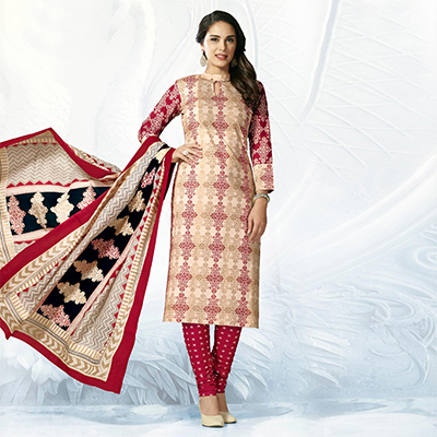 Beige - Maroon Casual Wear Printed Jetpur Cotton Dress Material