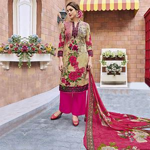 Olive Green - Pink Casual Wear Printed Jetpur Cotton Dress Material
