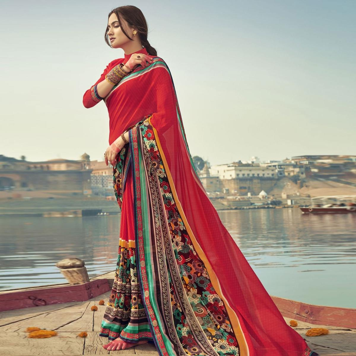 Triveni Red Colored Georgette Printed Saree With Blouse Piece