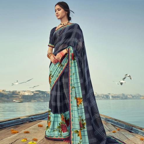 Triveni Teal & Navy Blue Colored Georgette Printed Saree With Blouse Piece