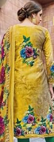 Yellow Casual Wear Printed Jetpur Cotton Dress Material
