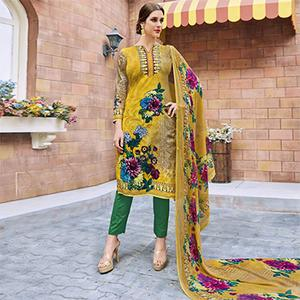 Yellow Casual Wear Printed Cotton Dress Material
