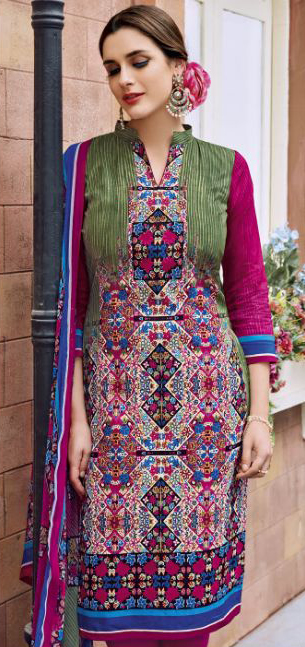 Green - Pink Casual Wear Printed Jetpur Cotton Dress Material