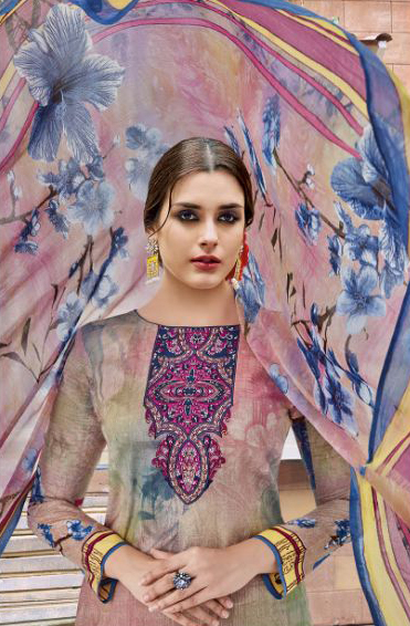 Multicolored - Brown Casual Wear Printed Jetpur Cotton Dress Material