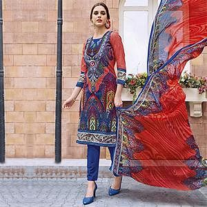 Blue - Red Casual Wear Printed Jetpur Cotton Dress Material