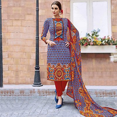 Blue - Maroon Casual Wear Printed Jetpur Cotton Dress Material
