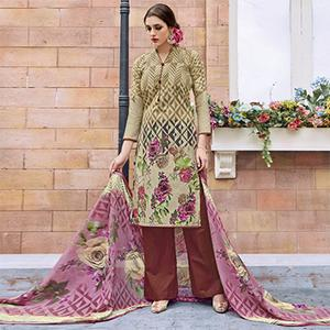 Olive Green Casual Wear Printed Jetpur Cotton Dress Material