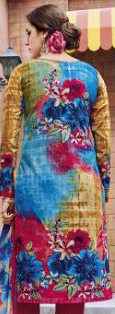 Blue - Pink Casual Wear Printed Jetpur Cotton Dress Material