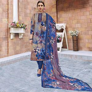 Blue Casual Wear Printed Jetpur Cotton Dress Material