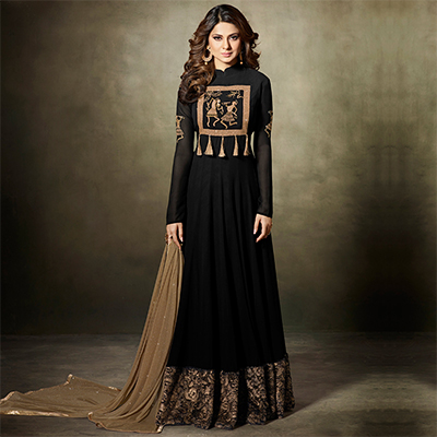 Sizzling Black Partywear Designer Embroidered Faux Georgette Anarkali Suit