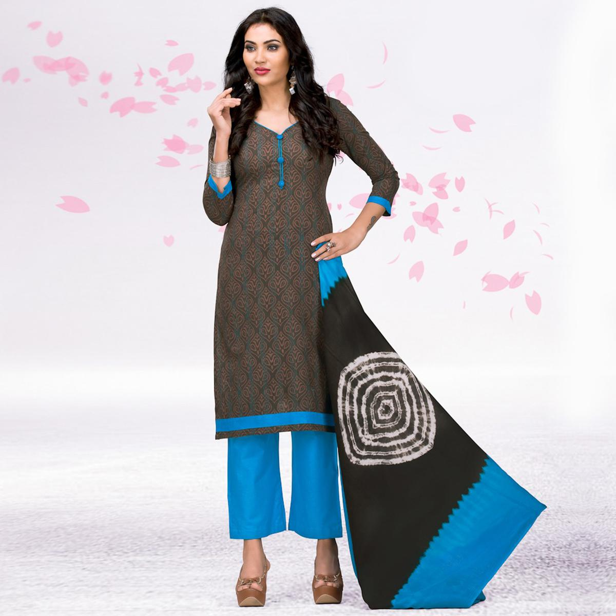 Grey - Blue Casual Printed Jetpur Cotton Dress Material