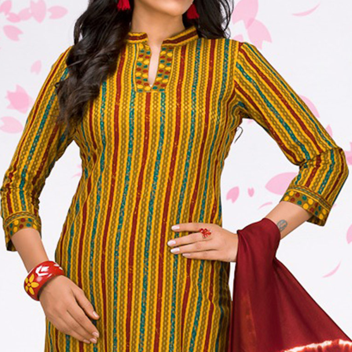 Yellow - Maroon Casual Printed Jetpur Cotton Dress Material