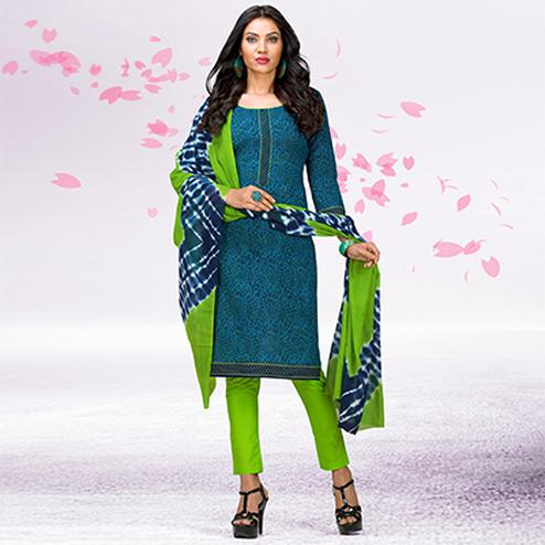 Blue - Green Casual Printed Jetpur Cotton Dress Material