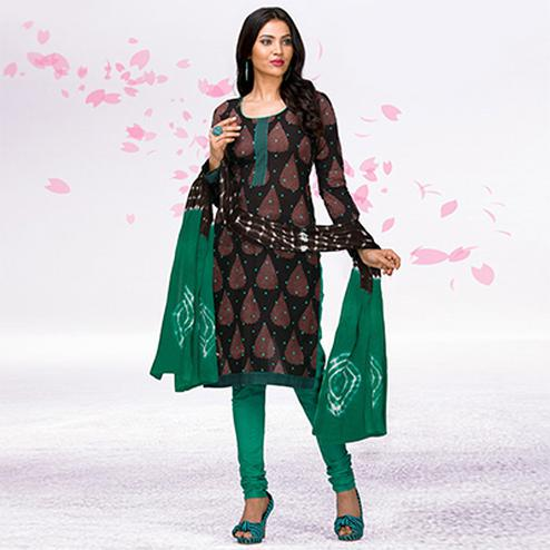 Brown - Green Casual Printed Jetpur Cotton Dress Material