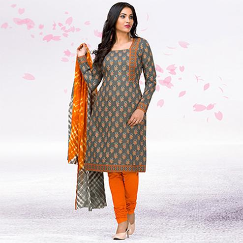 Grey - Orange Casual Printed Jetpur Cotton Dress Material