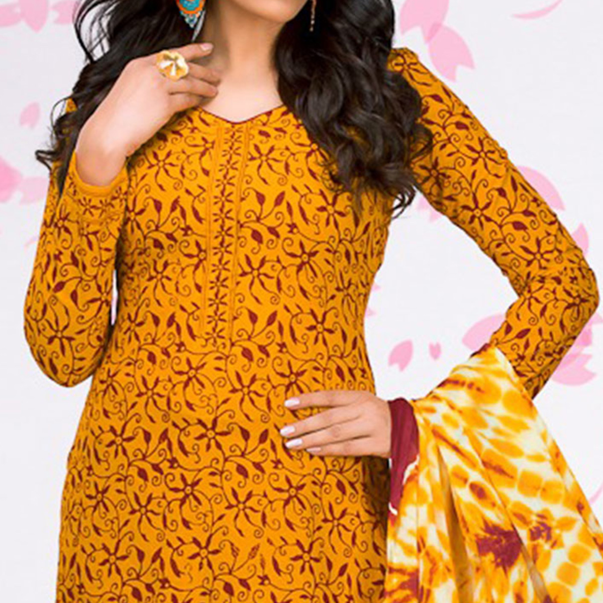 Orange - Maroon Casual Printed Jetpur Cotton Dress Material