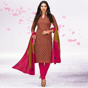 Beige - Pink Casual Printed Jetpur Cotton Dress Material