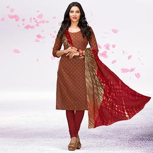 Brown - Maroon Casual Printed Cotton Dress Material