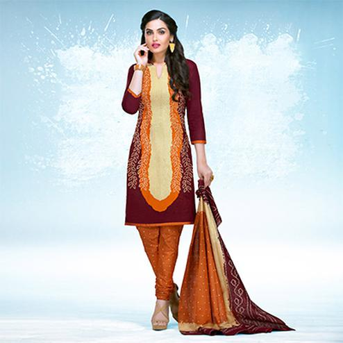 Wine - Dark Orange Casual Wear Printed Jetpur Cotton Dress Material