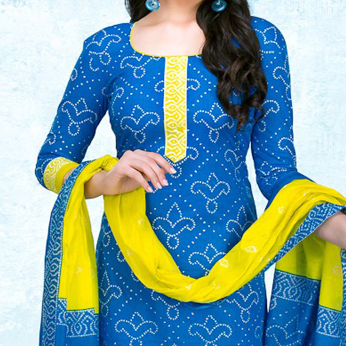 Blue - Yellow Casual Wear Printed Jetpur Cotton Dress Material