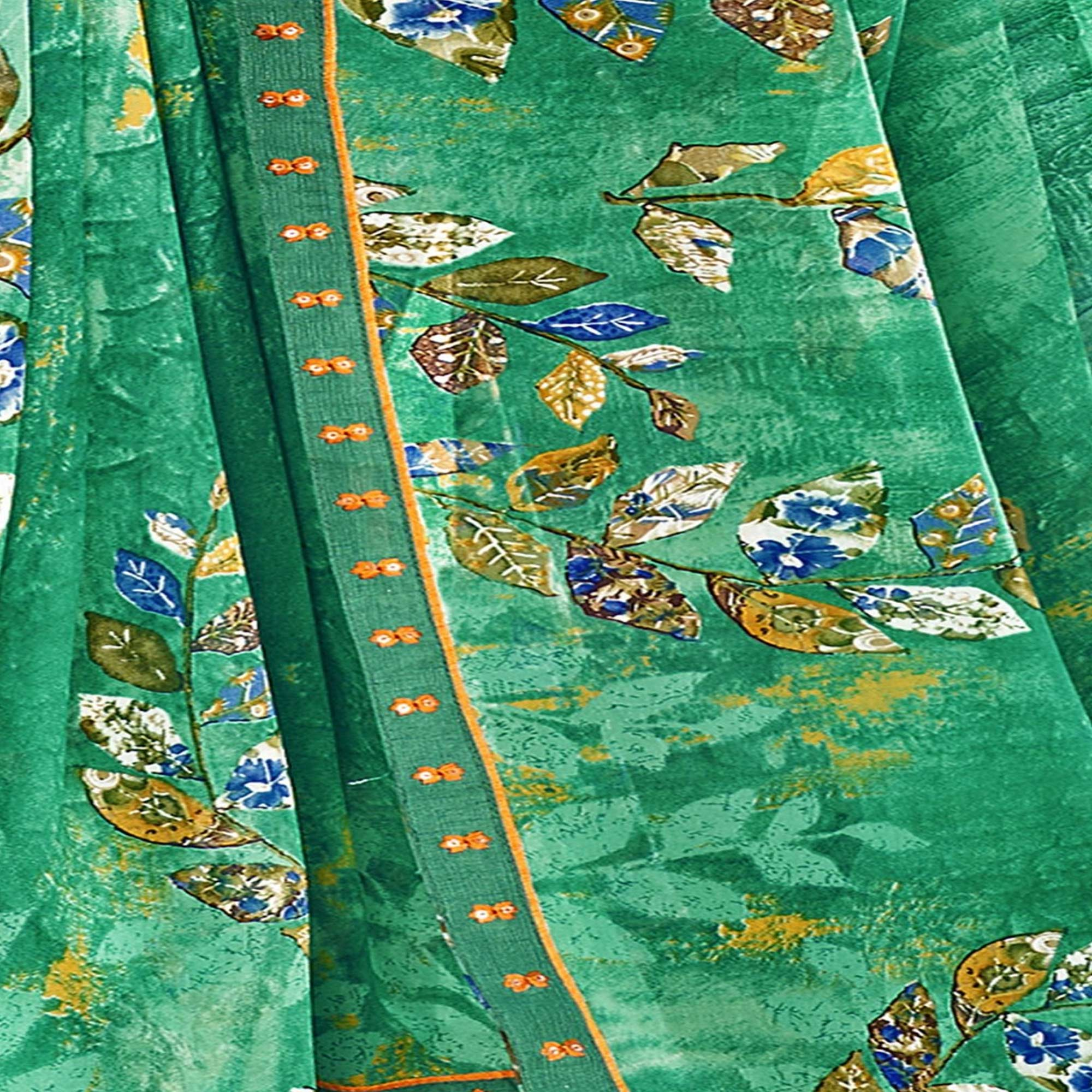 Triveni Turquoise Green Colored Georgette Printed Saree With Blouse Piece