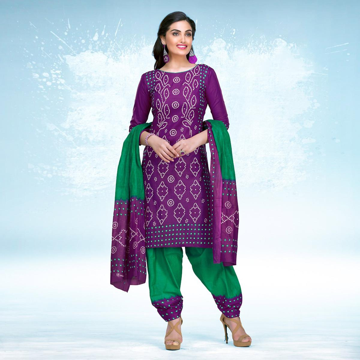 Purple - Green Casual Wear Printed Jetpur Cotton Dress Material