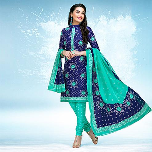 Blue - Green Casual Wear Printed Jetpur Cotton Dress Material