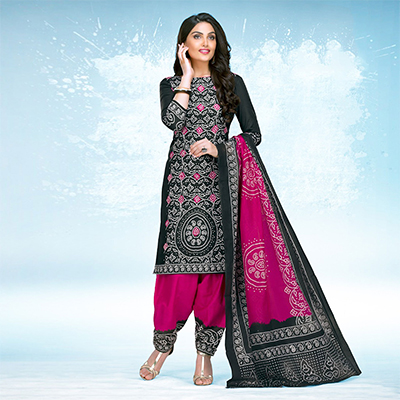 Black - Pink Casual Wear Printed Jetpur Cotton Dress Material