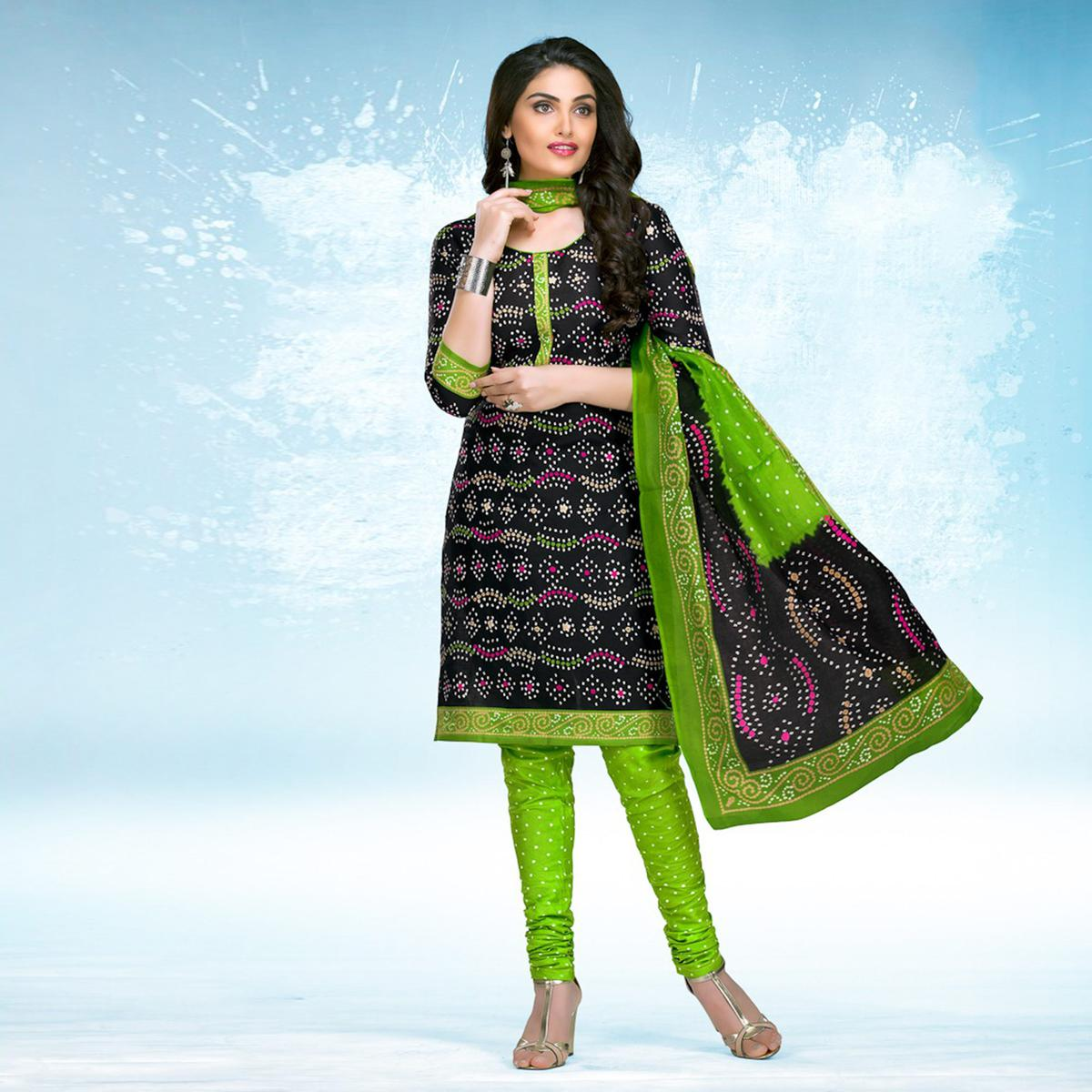 Black - Green Casual Wear Printed Jetpur Cotton Dress Material