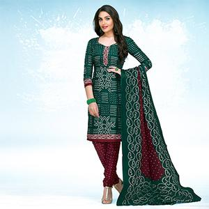 Green - Maroon Casual Wear Printed Jetpur Cotton Dress Material