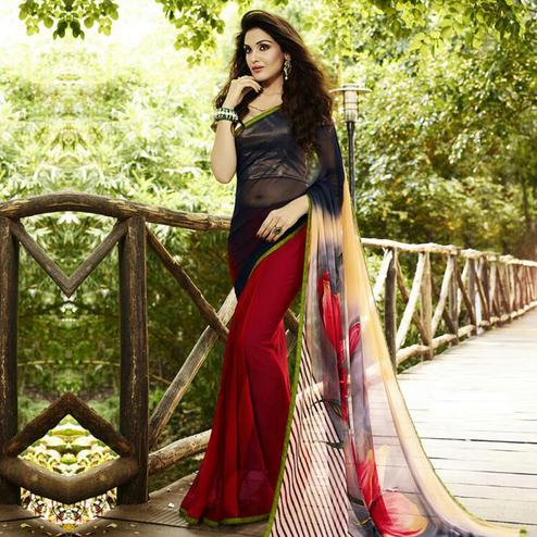 Black - Red Half & Half Saree