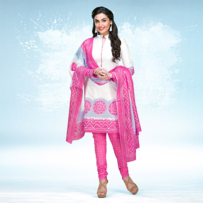White - Pink Casual Wear Printed Jetpur Cotton Dress Material