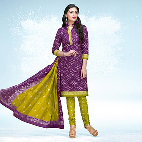 Purple - Olive Green Casual Wear Printed Jetpur Cotton Dress Material