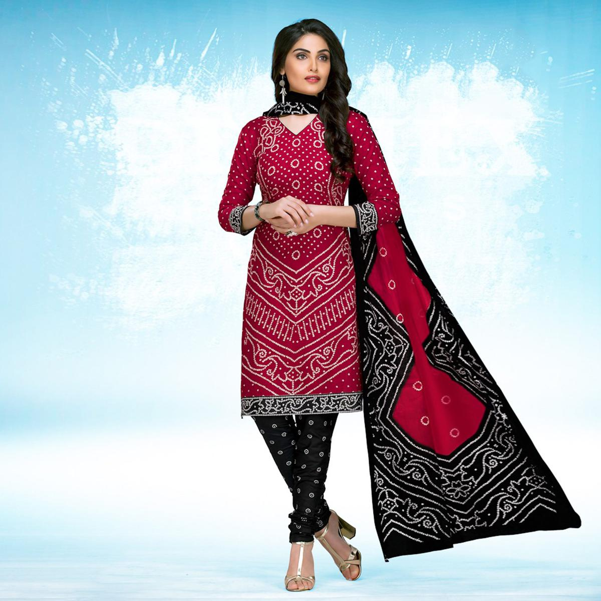 Red - Black Casual Wear Printed Jetpur Cotton Dress Material