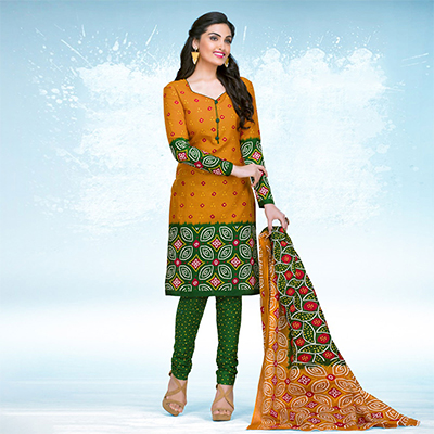 Orange - Green Casual Wear Printed Jetpur Cotton Dress Material